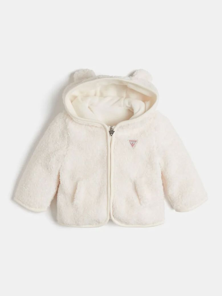 Guess Padded Faux Fur Jacket Cream