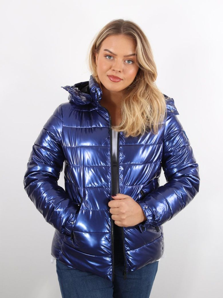 Guess Padded Hooded Jacket Blue