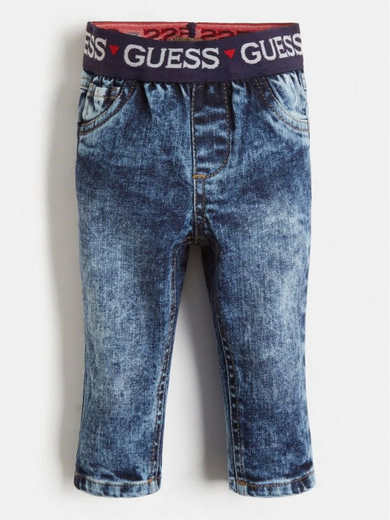 Guess Pull On Denim Pants Stone Wash