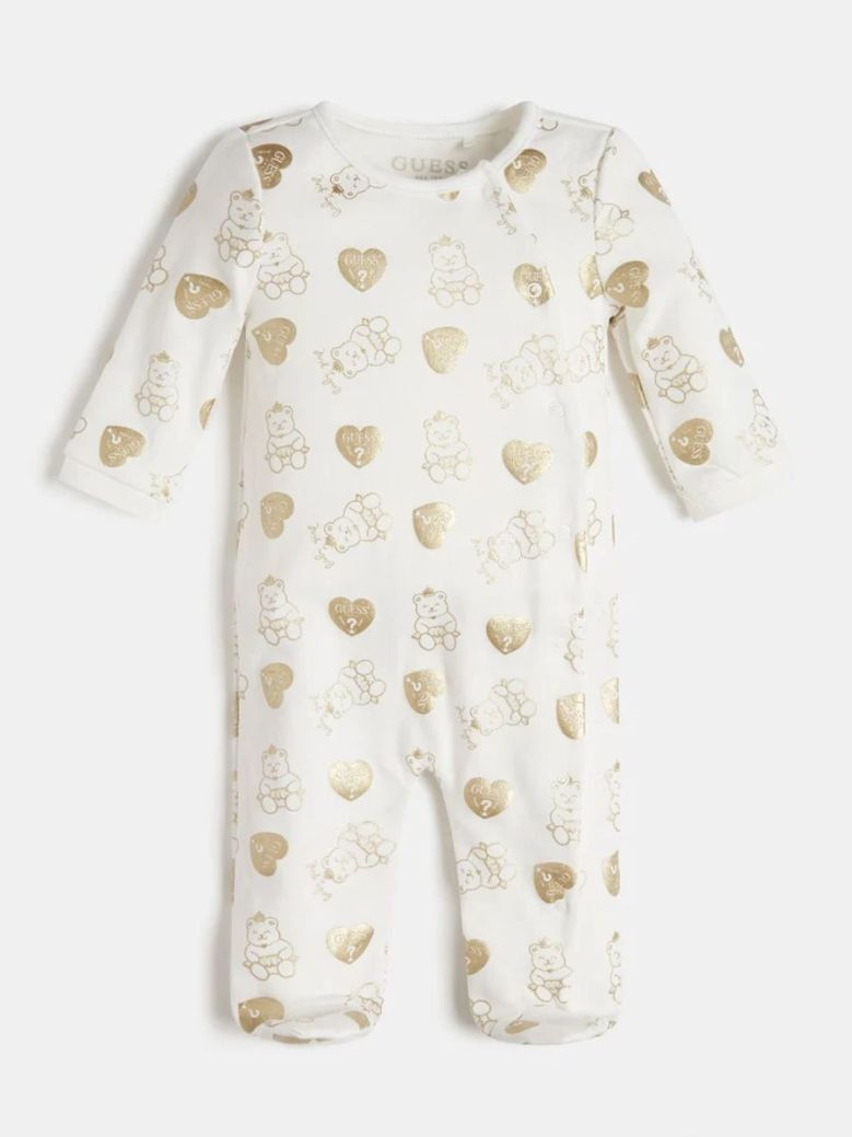 Guess All Over Foil Print Babygrow Cream