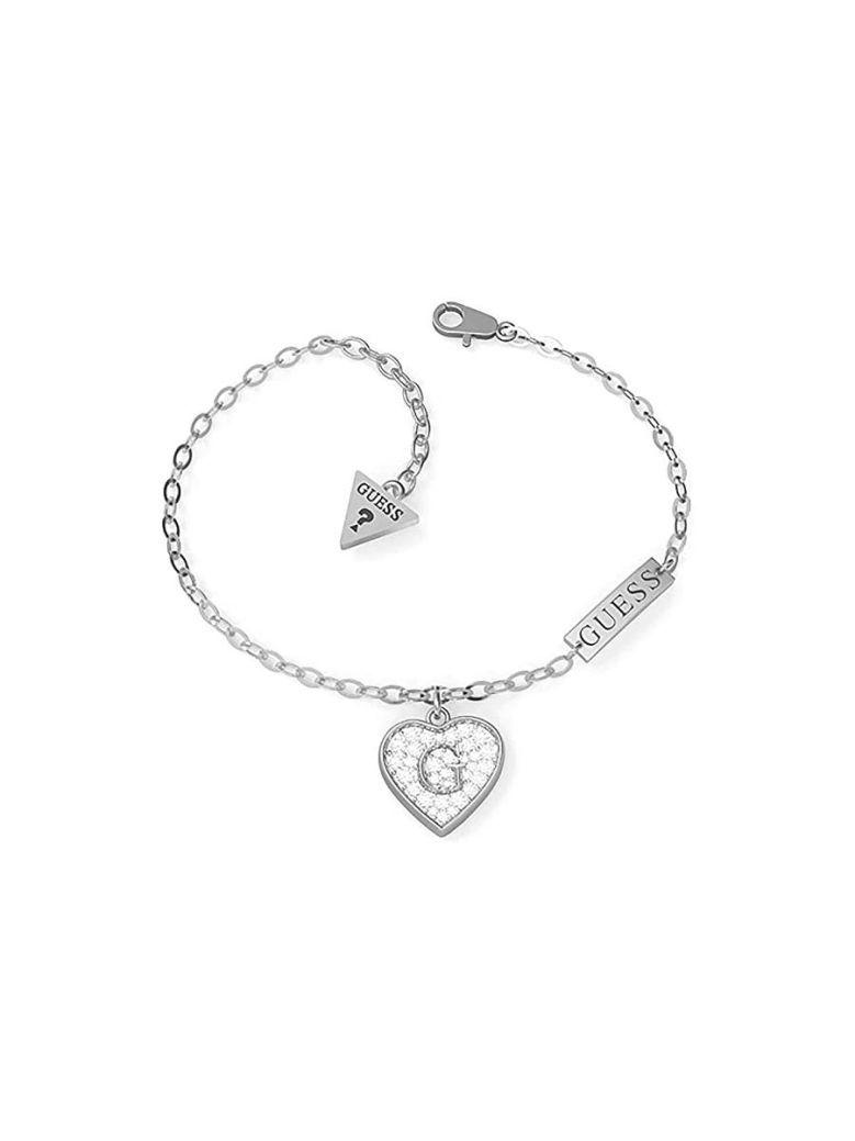 Guess G Shine Heart Charm Bracelet Silver