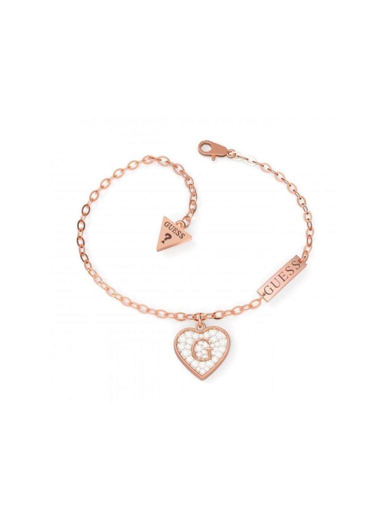 Guess G Shine Heart Charm Bracelet Rose Gold