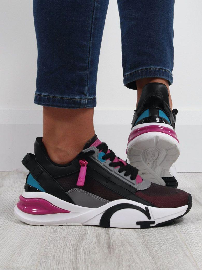 Guess Side Zip Running Shoe Grey Multi