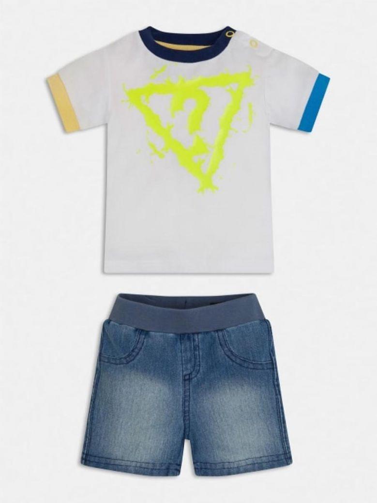 Guess T-Shirt and Knit Denim Shorts Set White