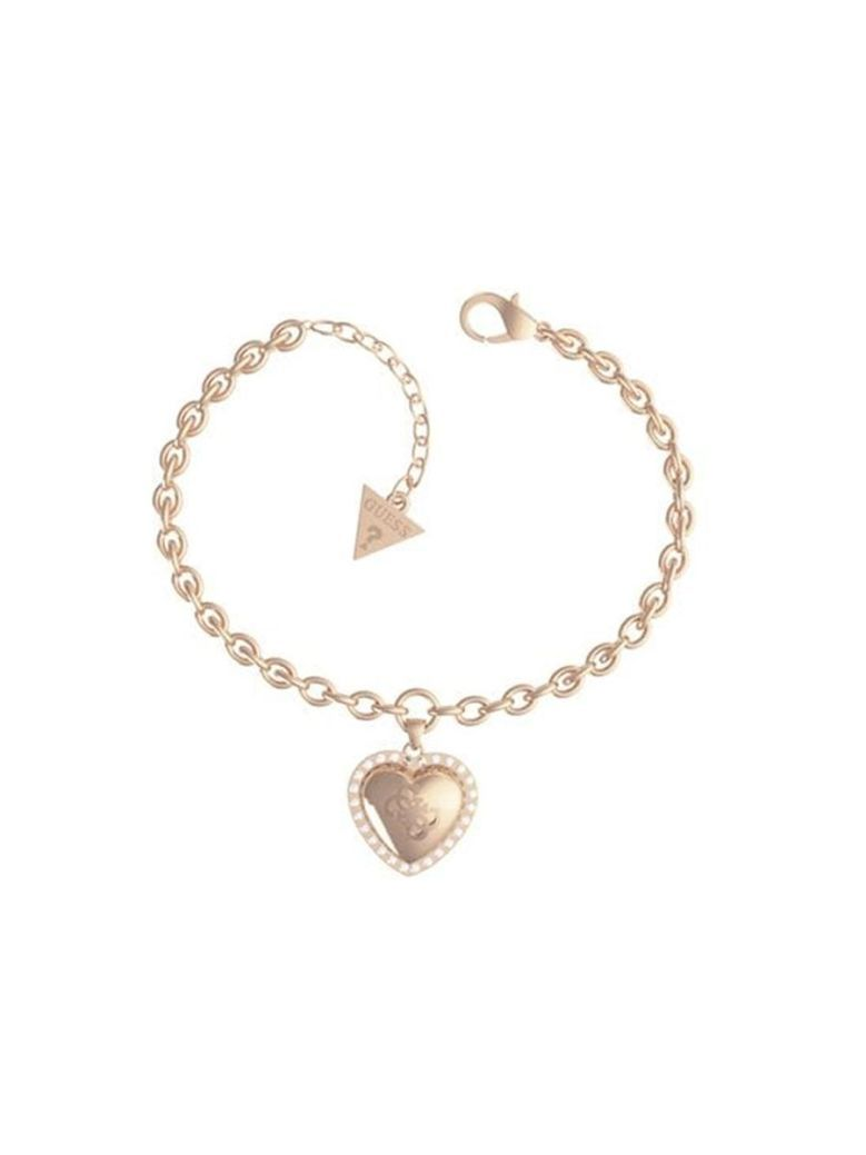 Guess That's Amore Heart Logo Bracelet Rose Gold