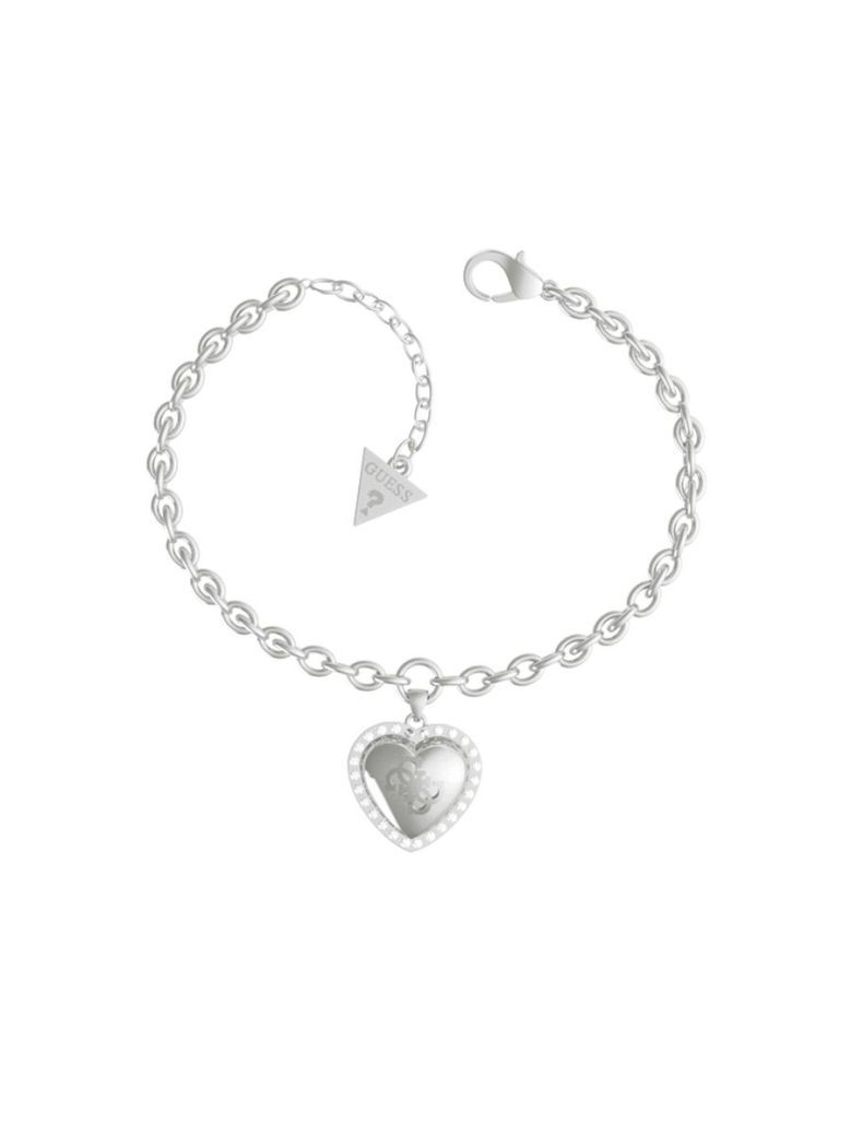 Guess That's Amore Heart Logo Bracelet Silver