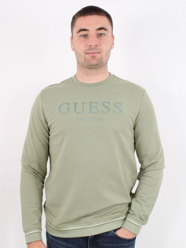 Guess Tone-On-Tone Logo Sweatshirt Green