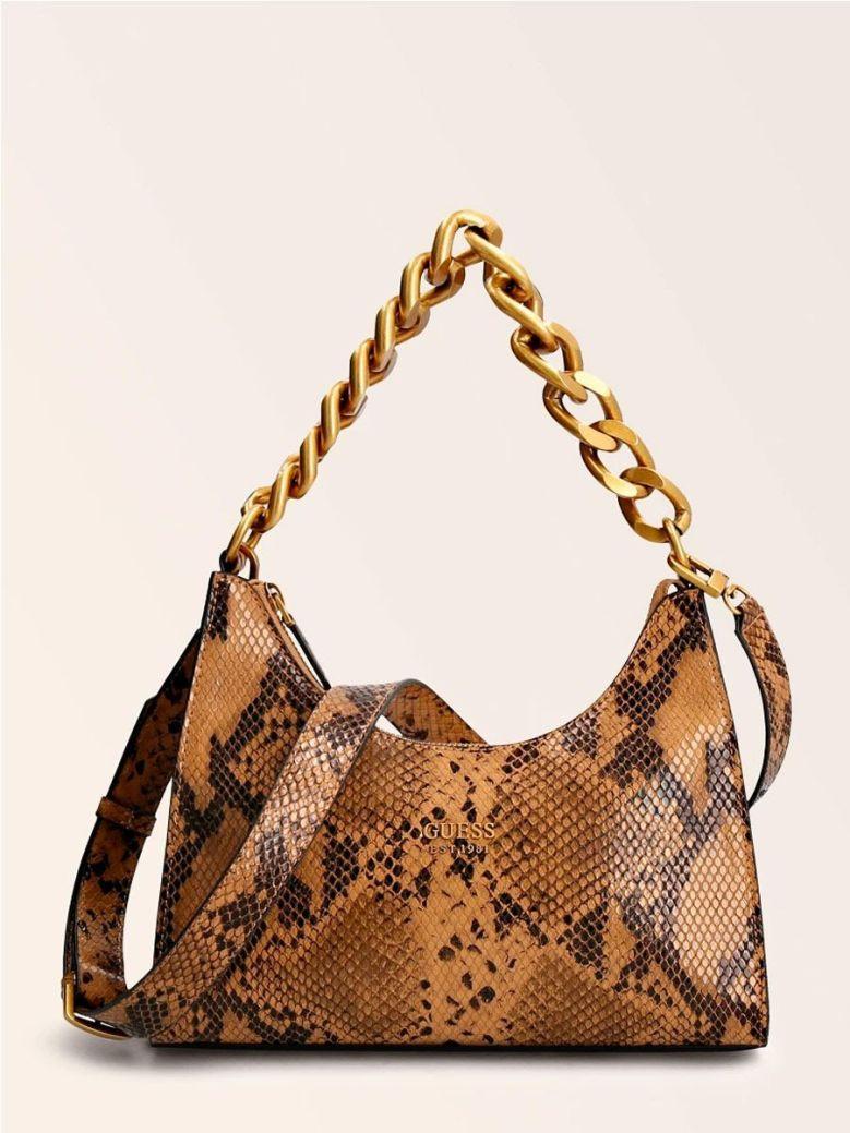 Guess Tullia Python Print Hobo Bag Tan