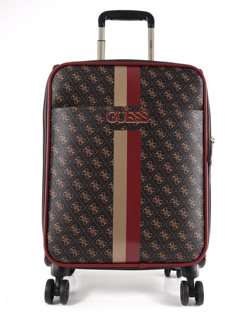 Guess Vikky 4G Peony Logo Cabin Suitcase Brown