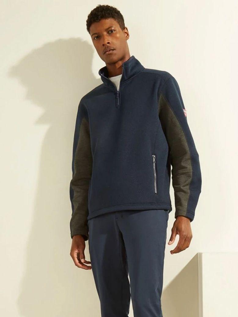 Guess Zip Fastening Sweatshirt Navy