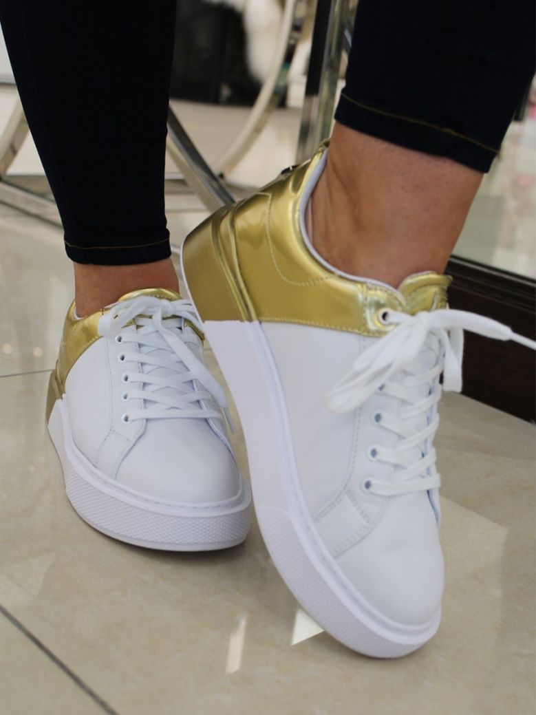 Guess Gold Contrast Sneakers White