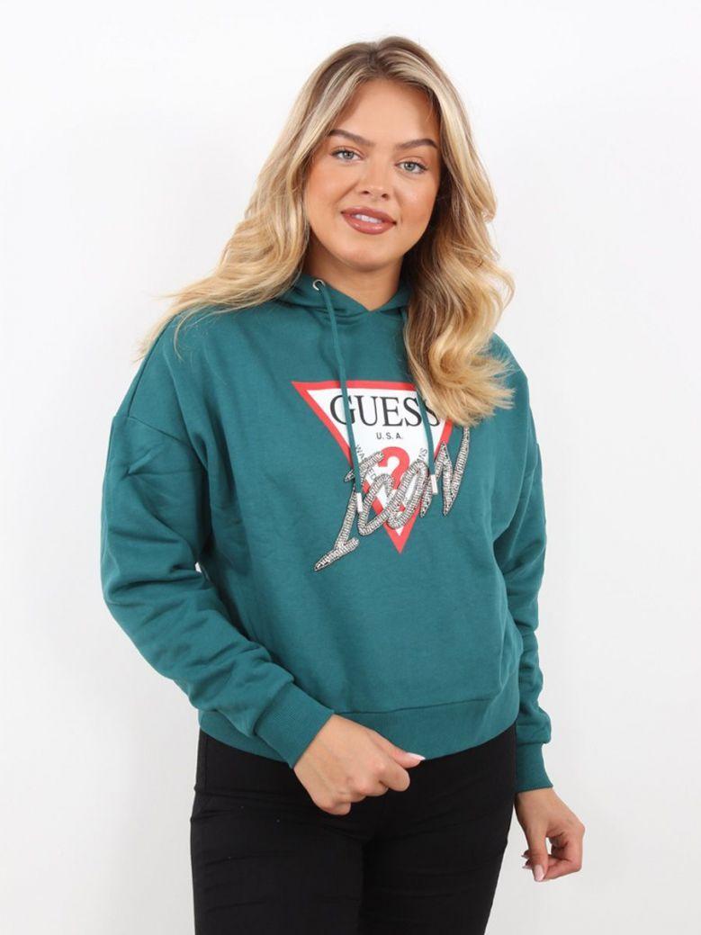 Guess Iconic Logo Hoodie Sweatshirt Green