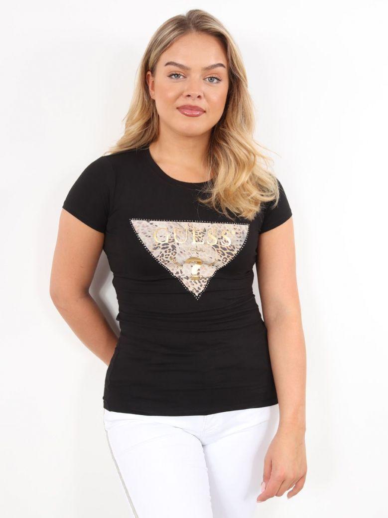 Guess Leopard Logo T-Shirt Black