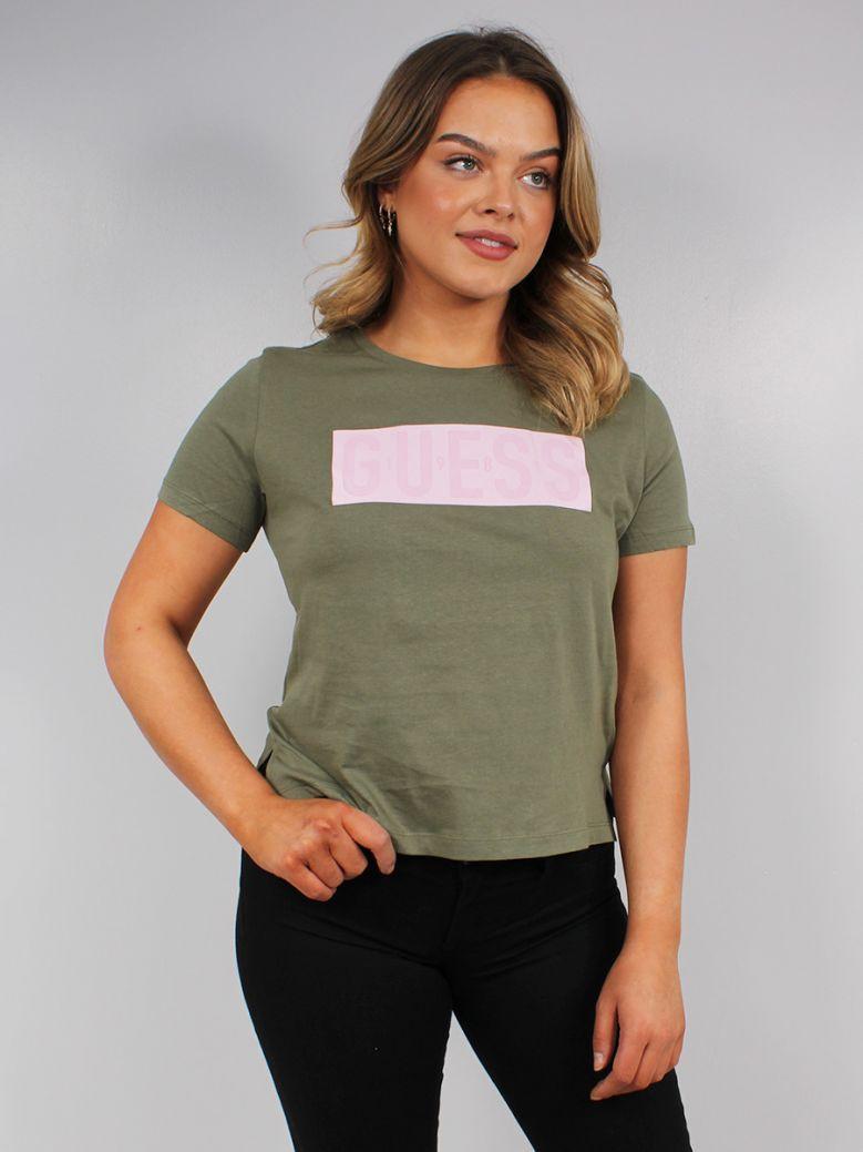 Guess Ladies Green Front Logo T-Shirt