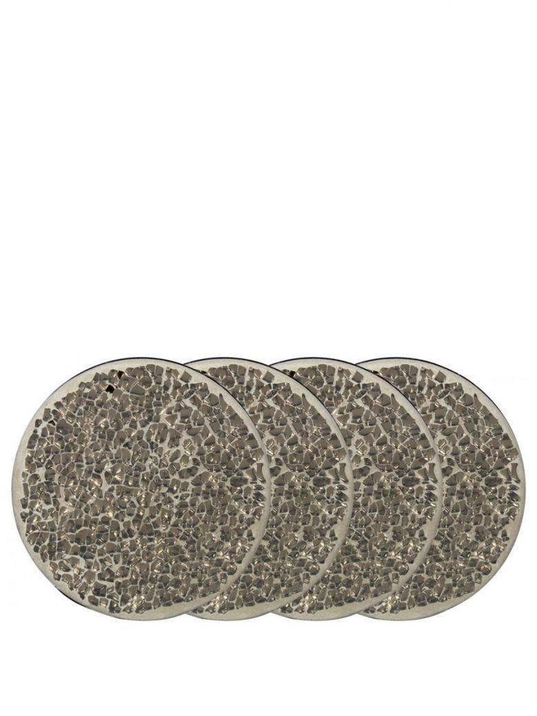 Set Of 4 Round Mercury Mosaic Coasters
