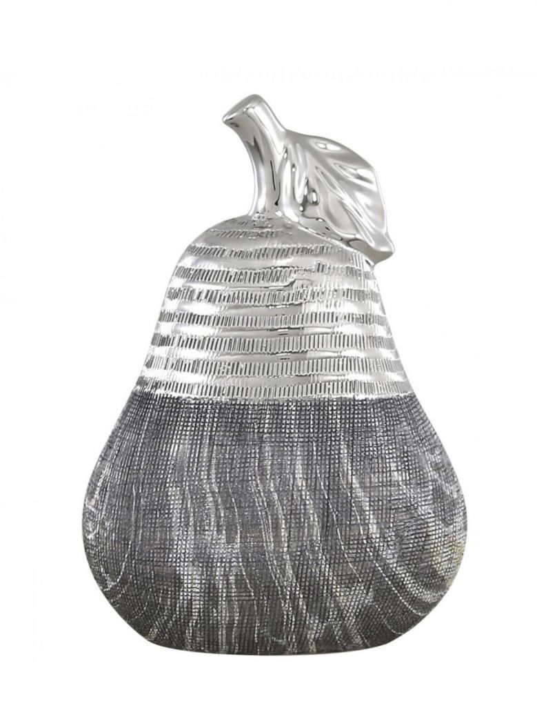 Large Silver & Grey Pear Decoration