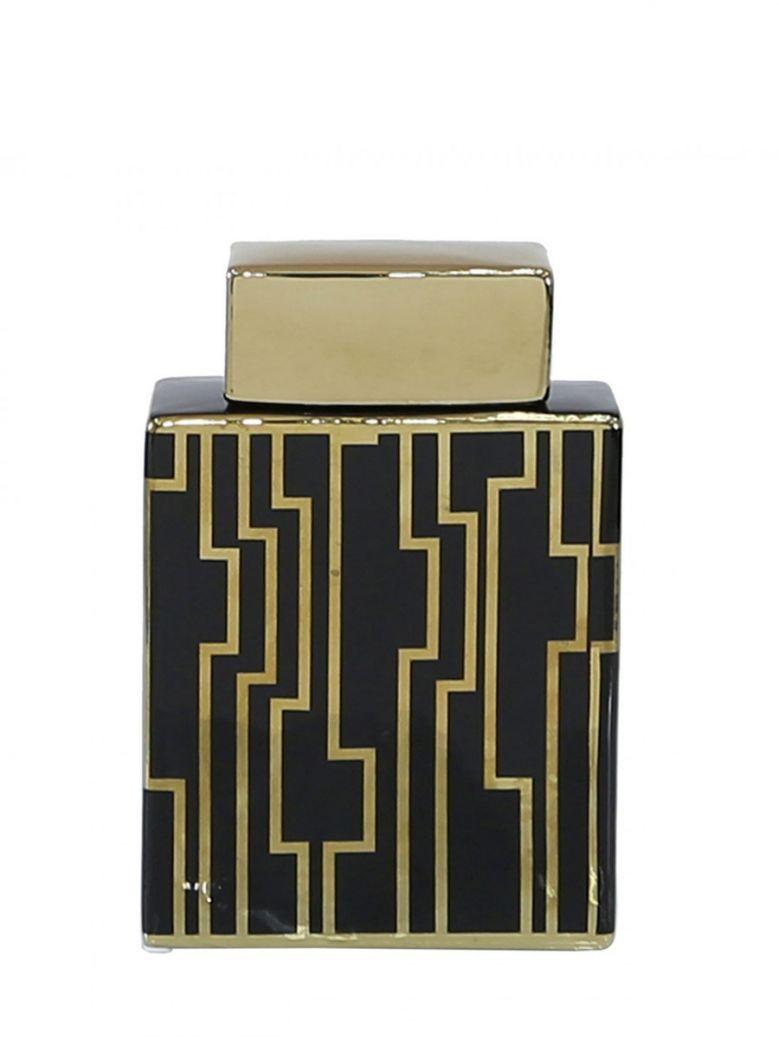 Large 25cm Black & Gold Ginger Jar