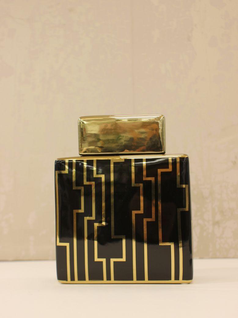 Medium 21cm Black & Gold Ginger Jar