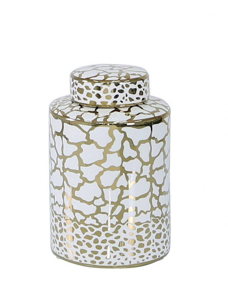 Medium 20.6cm White & Gold Ginger Jar