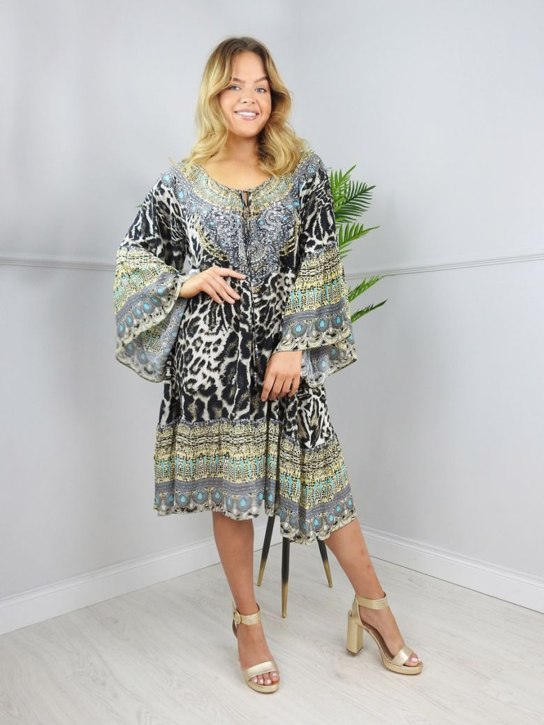 Inoa Azure Brown Siberia Gypsy Dress