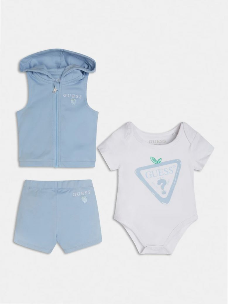 Guess Kids Blue Logo Vest, Body and Pant Set