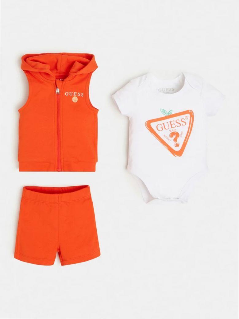 Guess Kids Orange Logo Vest, Body and Pant Set