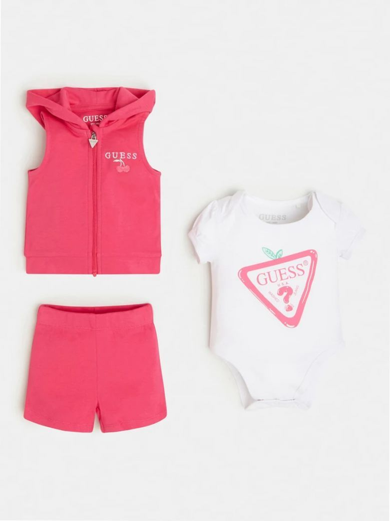 Guess Kids Pink Logo Vest, Body and Pant Set