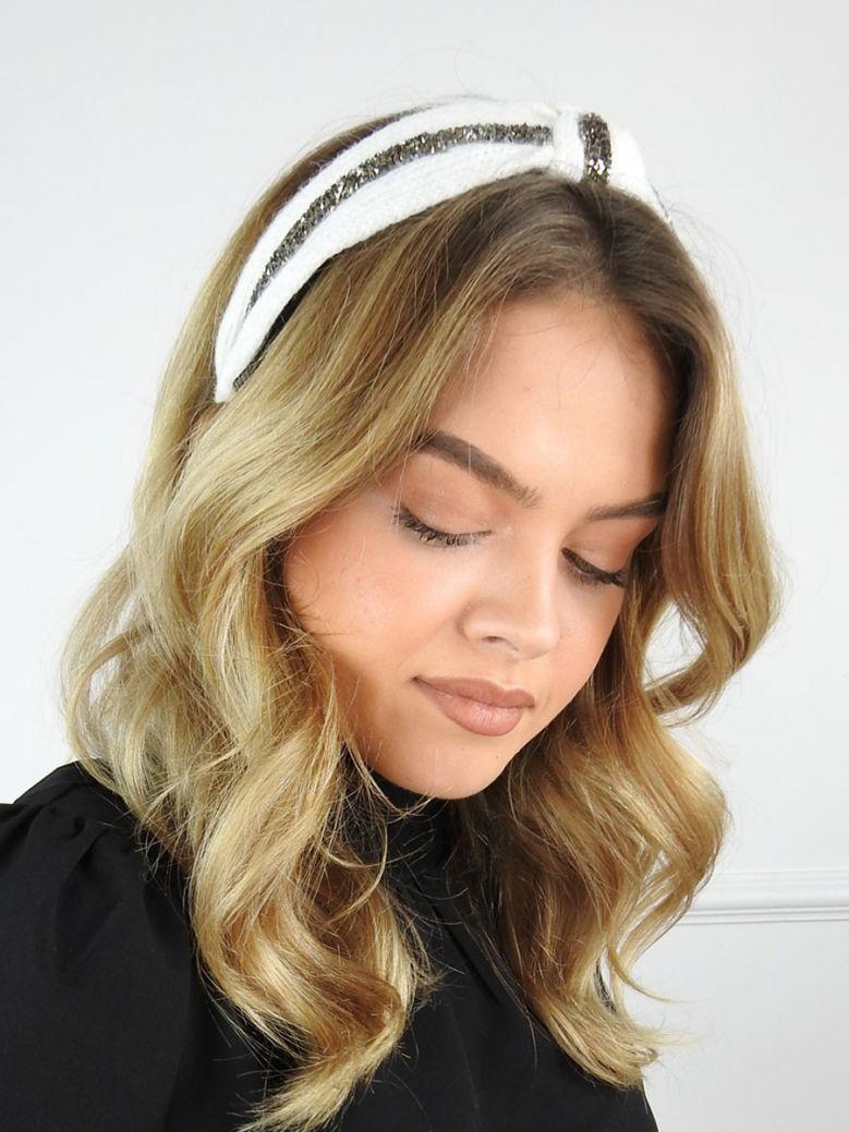 Cilento Woman Ivory Diamante Twist Knit Headband