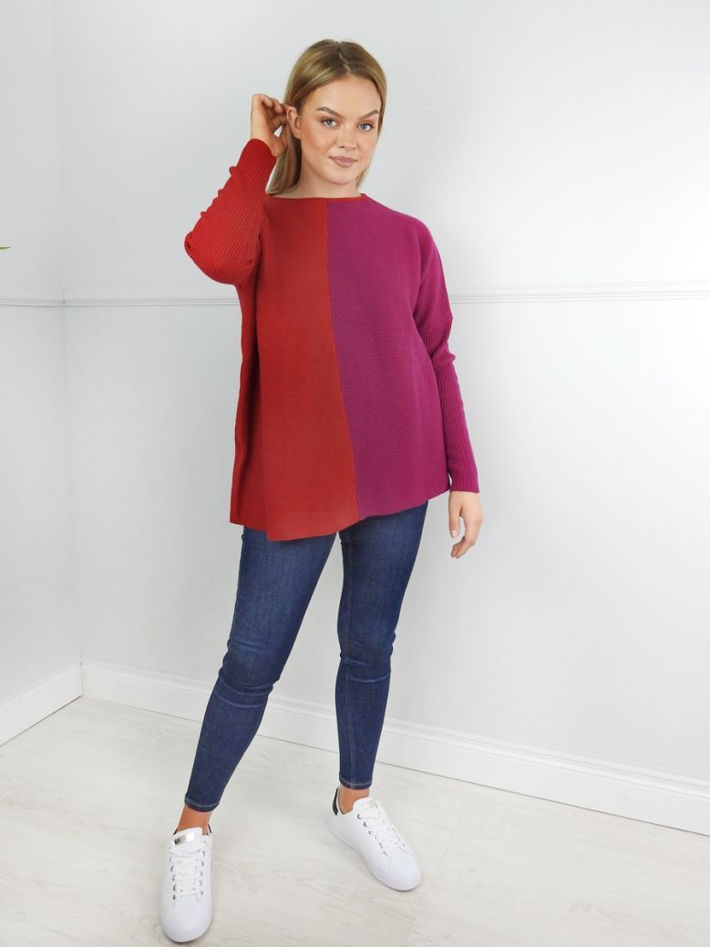 Knit Knit Red Colour Block Jumper