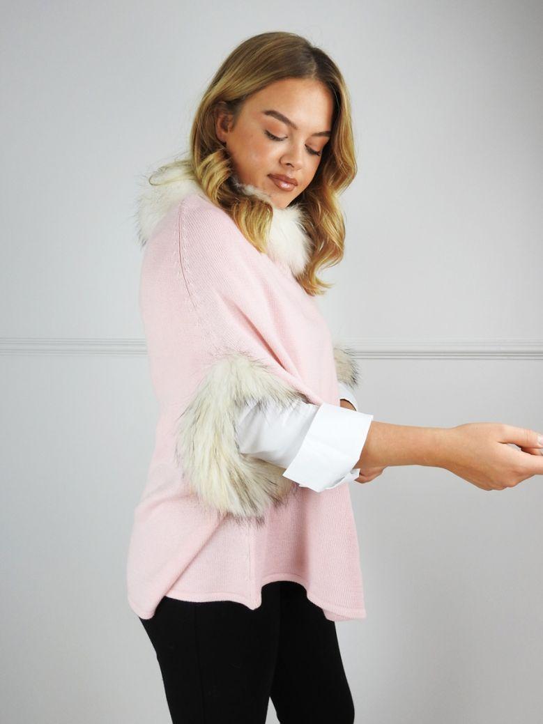 Cilento Woman Pink Wool Fur Trim Poncho