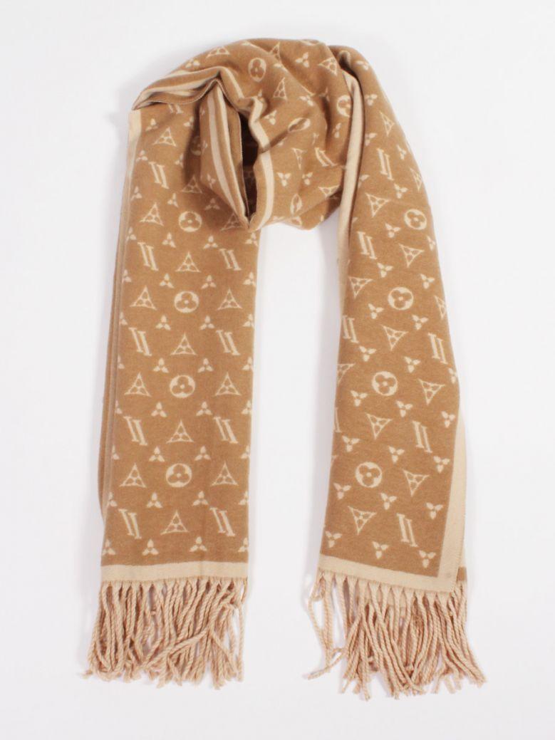Cilento Woman Camel/Beige Monogram Wool Scarf