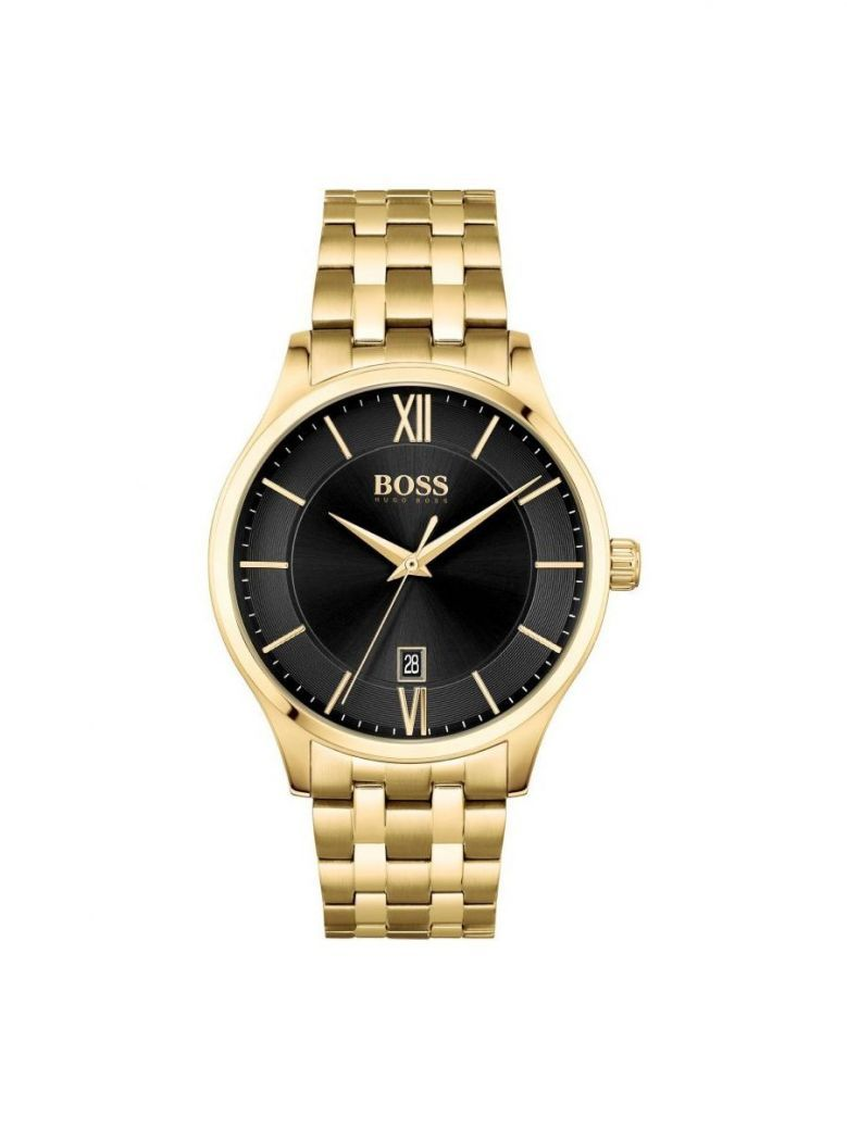 Hugo Boss Stainless-Steel Link-Bracelet Watch With Dual-Textured Dial Gold