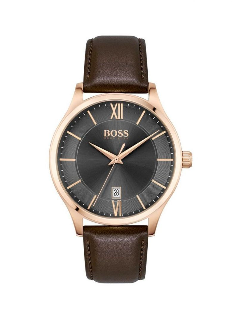 Hugo Boss Leather Strap Watch Brown
