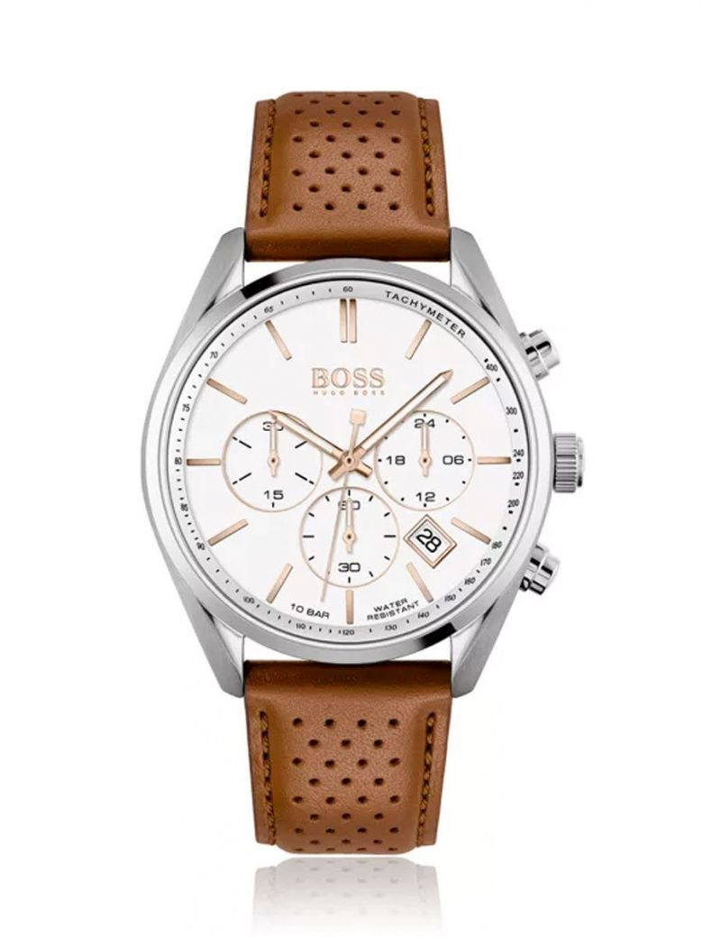 Hugo Boss Chronograph Watch With White Dial and Perforated Leather Strap