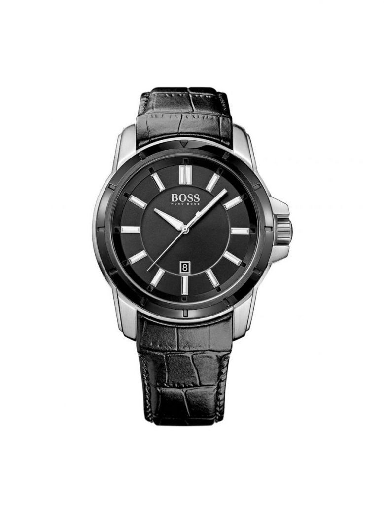 Hugo Boss Leather Strap Watch Black