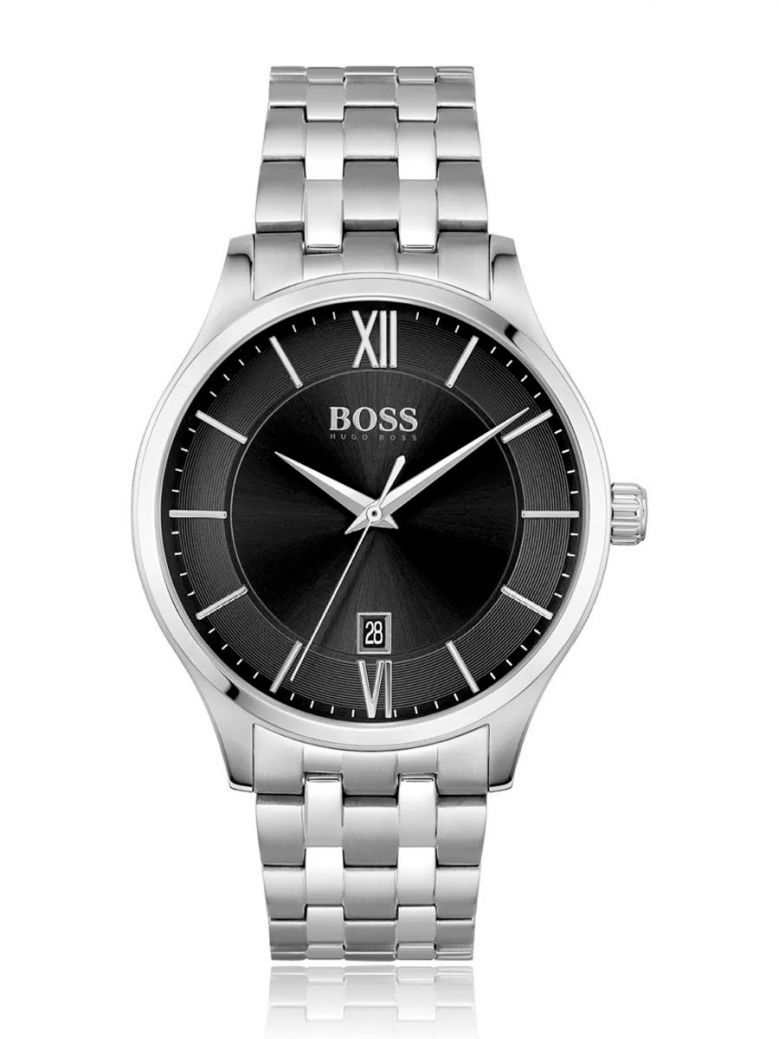 Hugo Boss Stainless-Steel Link-Bracelet Watch With Dual-Textured Dial Silver