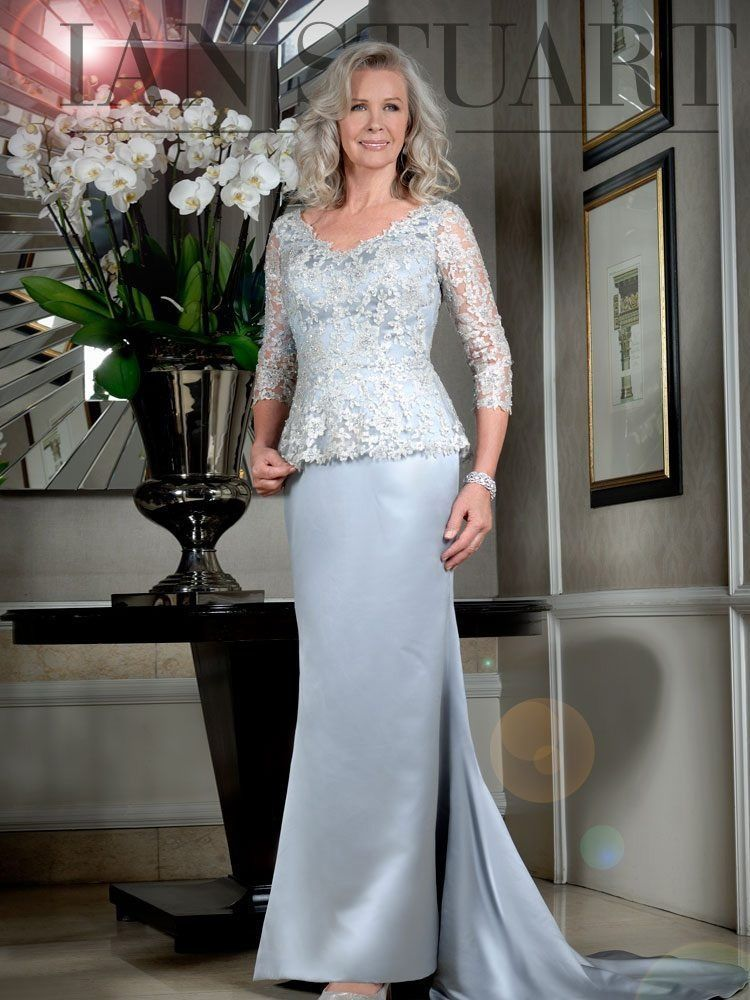 Ian Stuart Floral Embroidered Overlay Dress, Ice Blue, Style ISL853