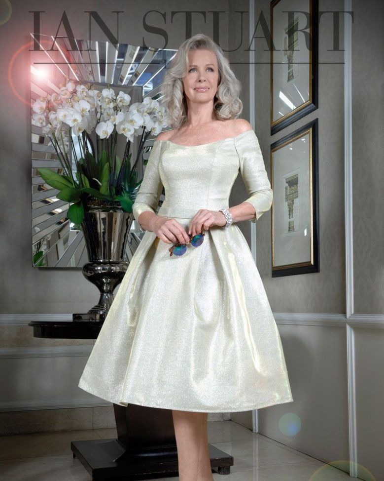 Ian Stuart Off Shoulder Fit and Flare Dress, Gold, Style ISL856