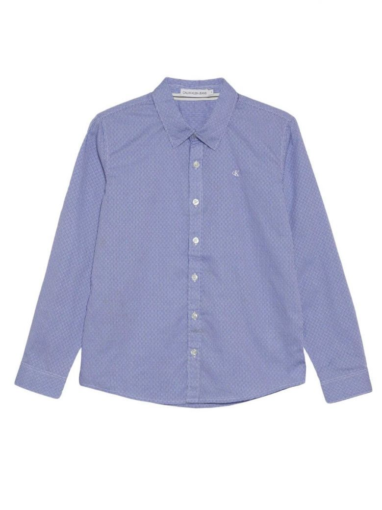 Calvin Klein Jeans Pilot Blue Checked Dobby Shirt