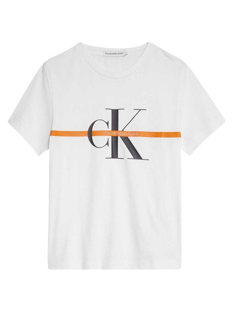 Calvin Klein Jeans White Monogram Stripe T-Shirt