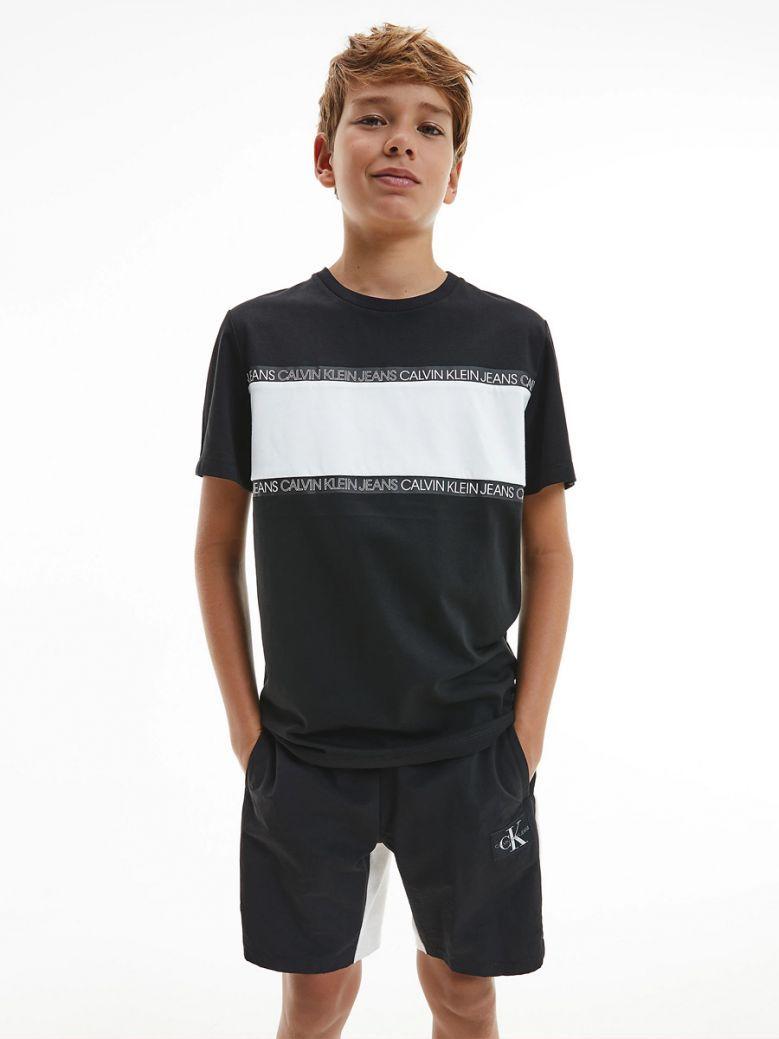 Calvin Klein Jeans Kids Black Recycled Polyester Logo Tape T-Shirt