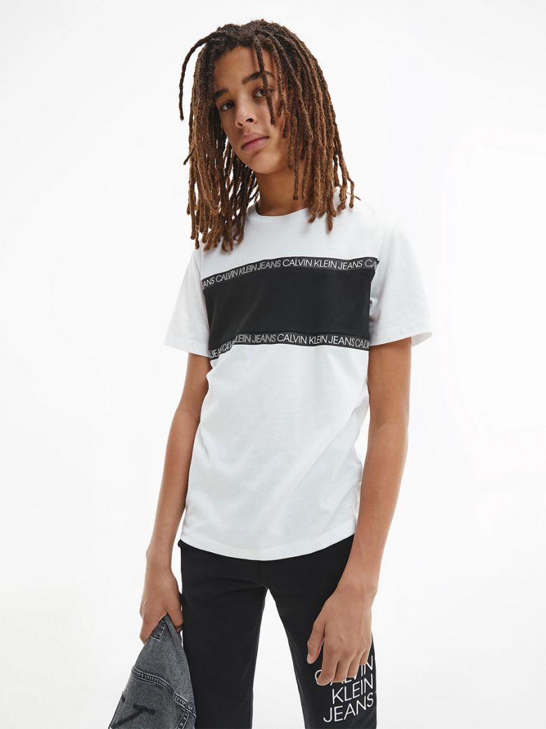 Calvin Klein Jeans Kids White Recycled Polyester Logo Tape T-Shirt
