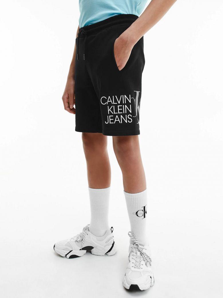 Calvin Klein Kids Black Organic Cotton Logo Jogger Shorts