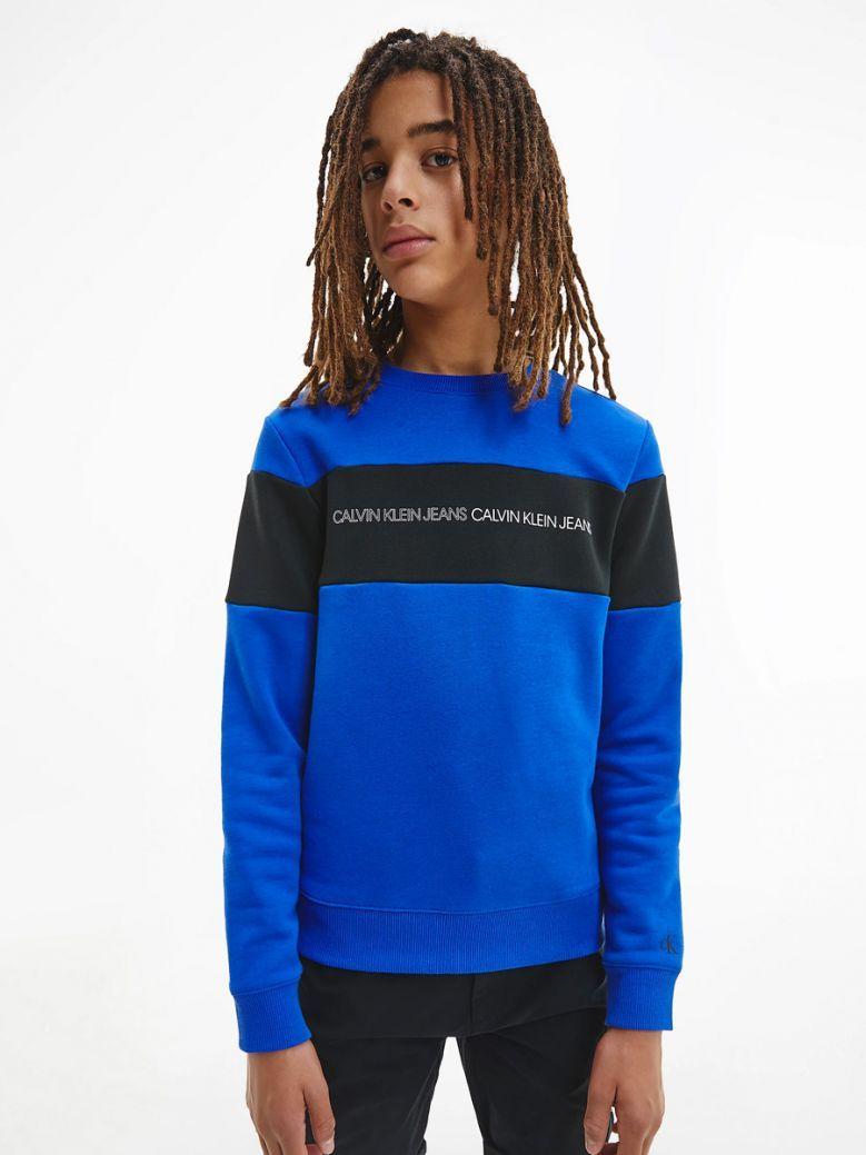 Calvin Klein Jeans Kids Ultra Blue Organic Cotton Colour Block Sweatshirt