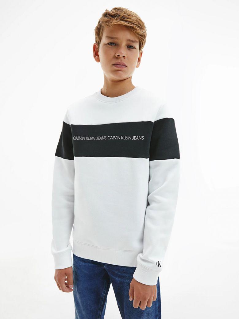 Calvin Klein Jeans Kids White Organic Cotton Colour Block Sweatshirt