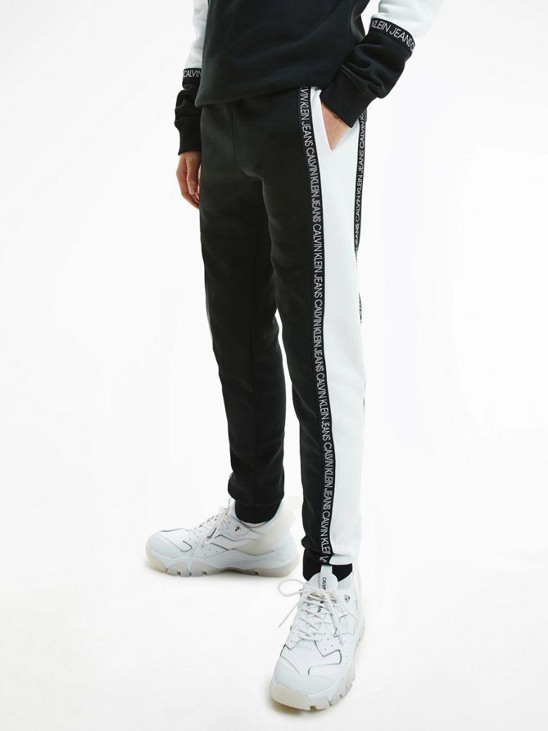 Calvin Klein Kids Black Organic Cotton Colour Block Joggers