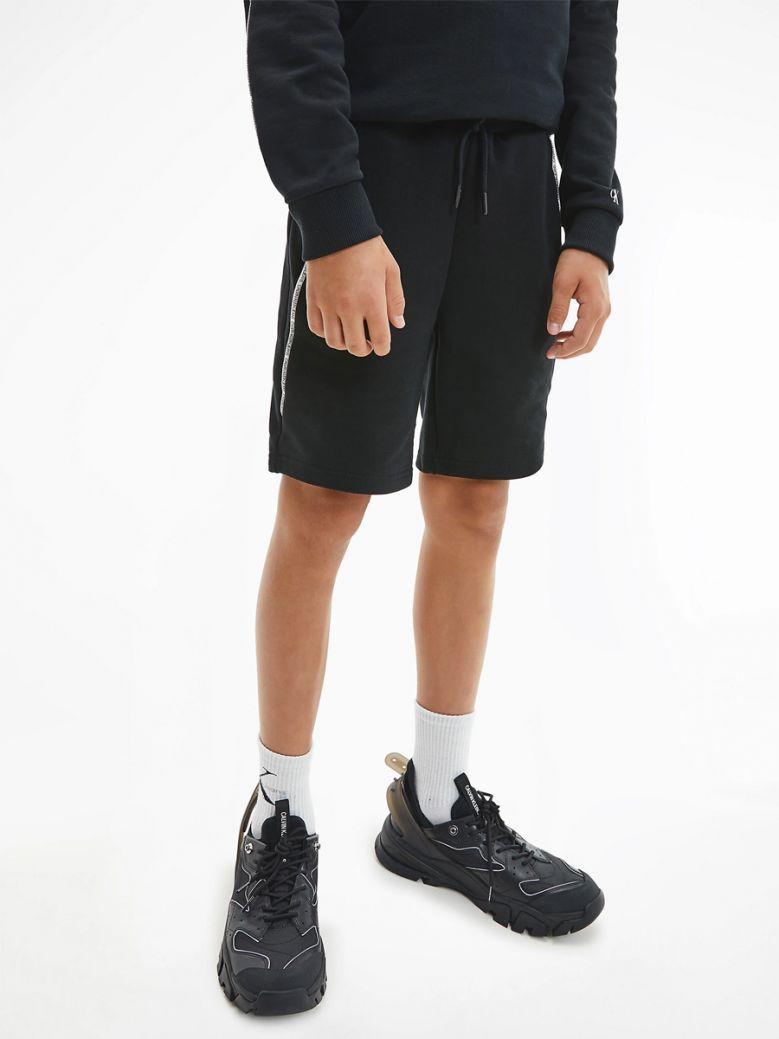 Calvin Klein Jeans Kids Black Organic Logo Piping Shorts