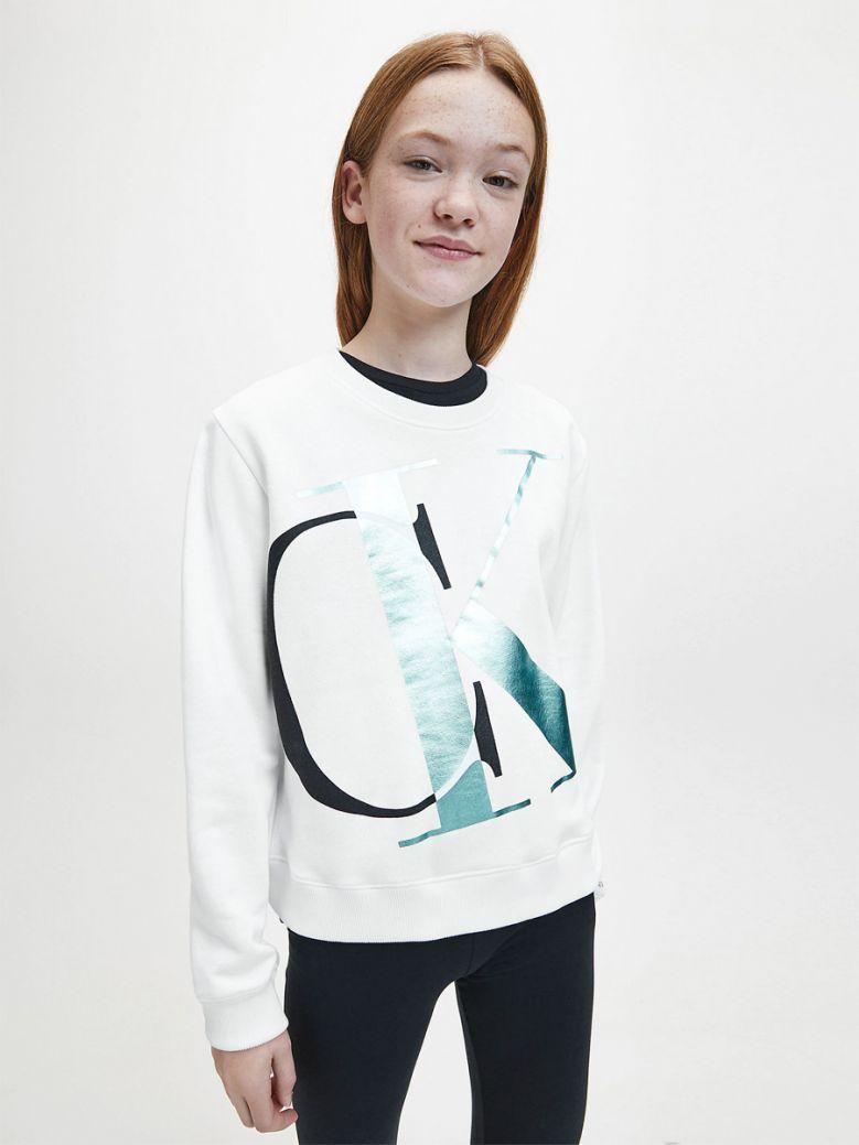 Calvin Klein Jeans Girls White Exploded Monogram Sweatshirt