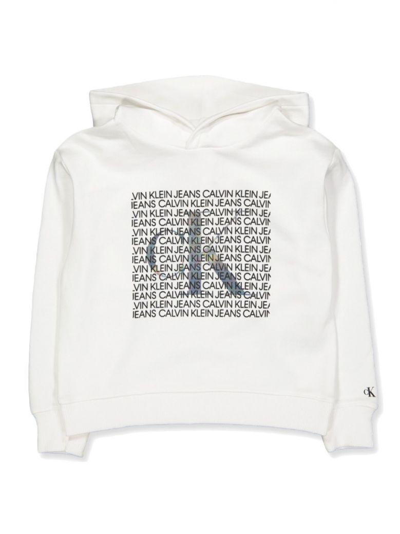 Calvin Klein Jeans White Iridescent Logo Hoodie