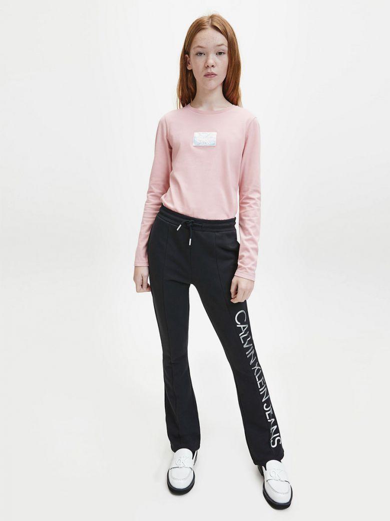 Calvin Klein Jeans Girls Pink Slim Organic Cotton Badge T-Shirt